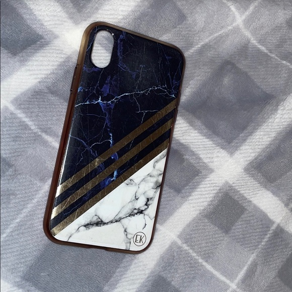 Iphone XR plastic phone case white & blue marble